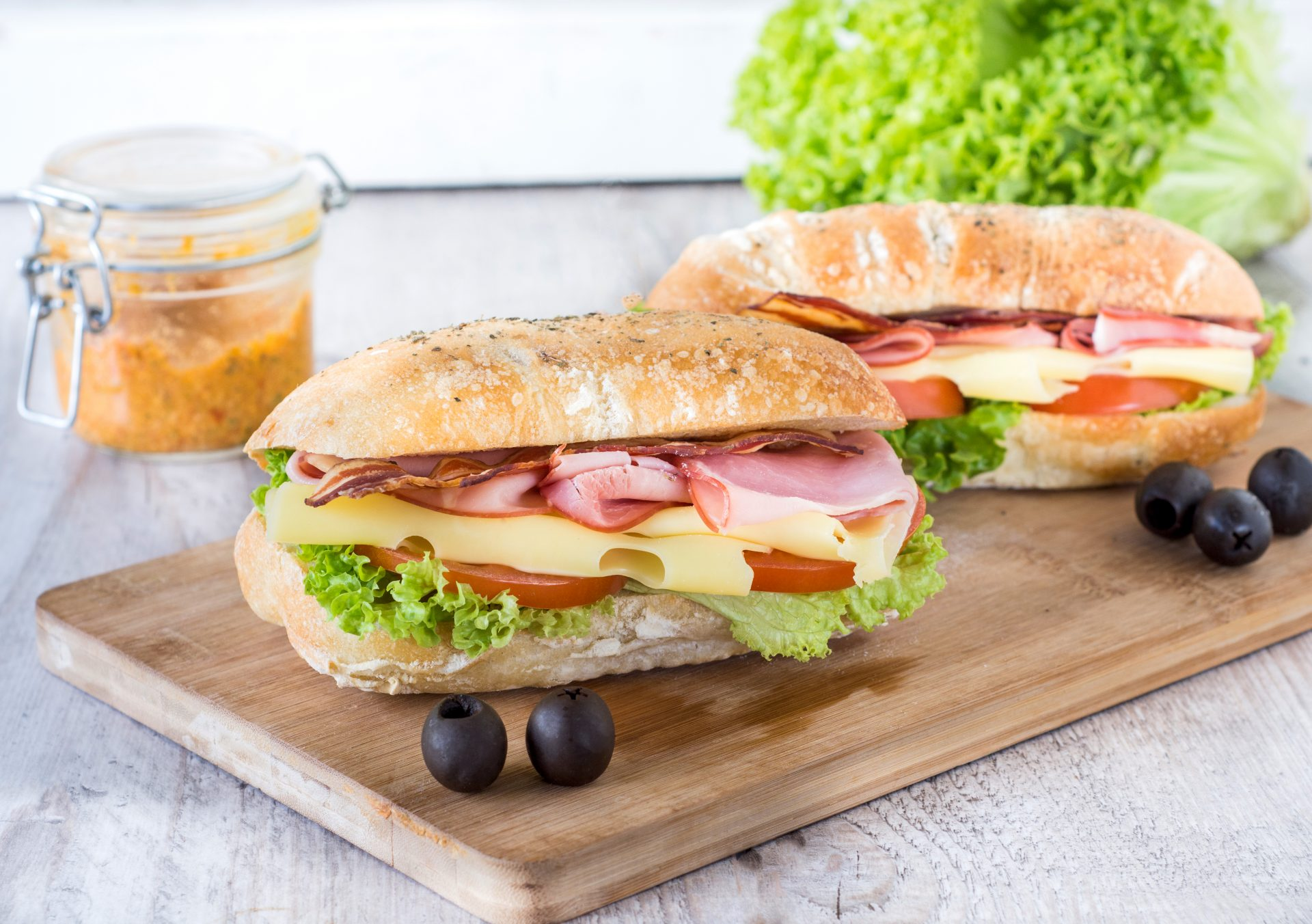 turkey bacon subs with veggies and cheese